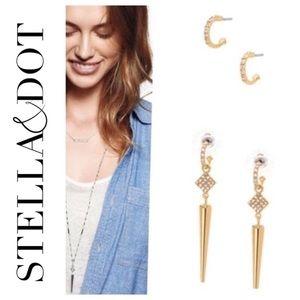 Stella & Dot Spike gold earrings
